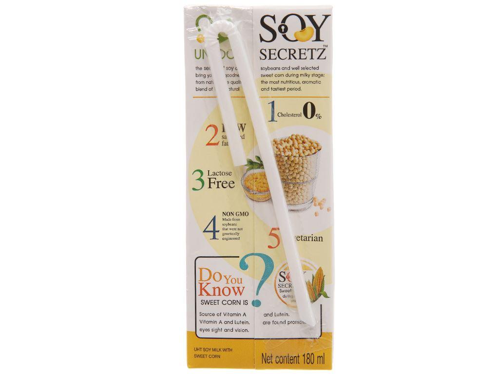 Lốc 4 hộp Sữa đậu nành bắp ngọt Soy Secretz 180ml 3