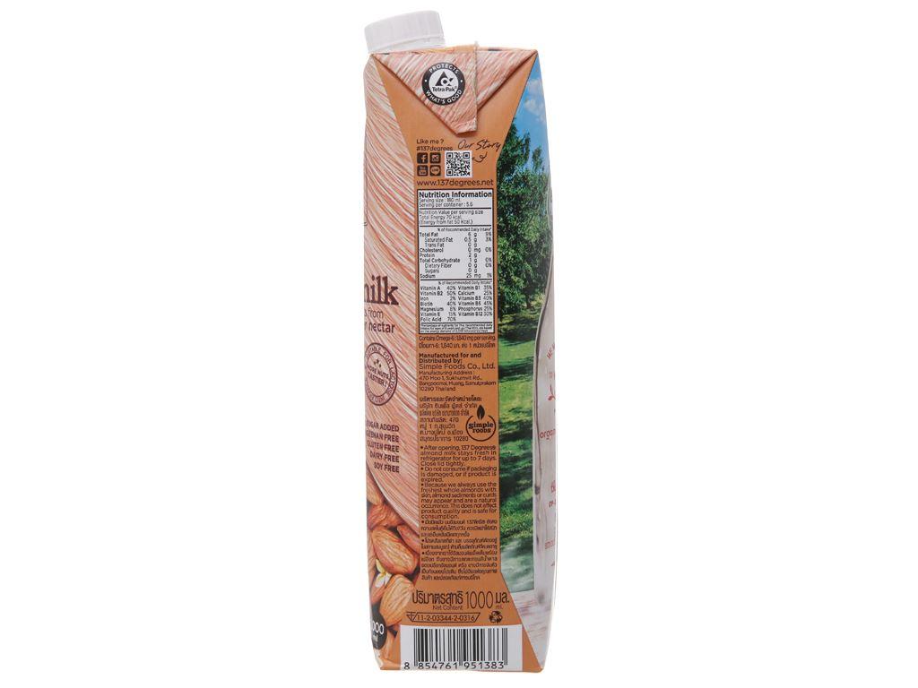 Sữa hạnh nhân 137 Degrees nguyên chất 1 lít 5