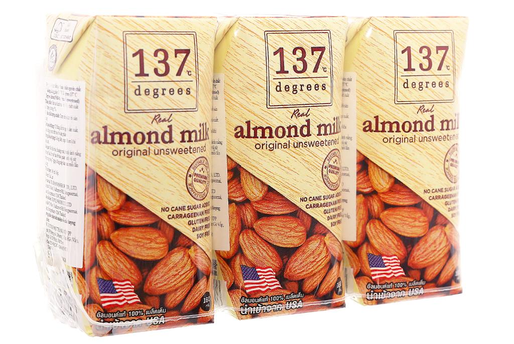 Lốc 3 hộp Sữa hạnh nhân 137 Degrees không đường 180ml 1