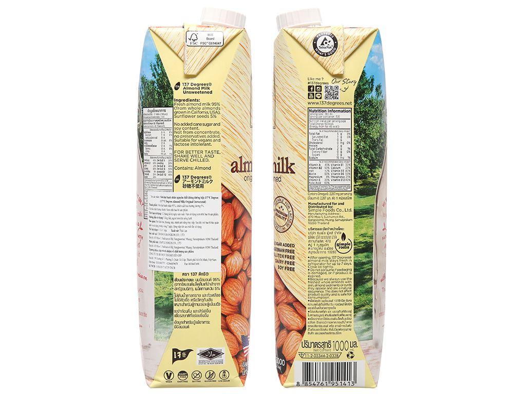 Sữa hạnh nhân không đường 137 Degrees nguyên chất 1 lít 5