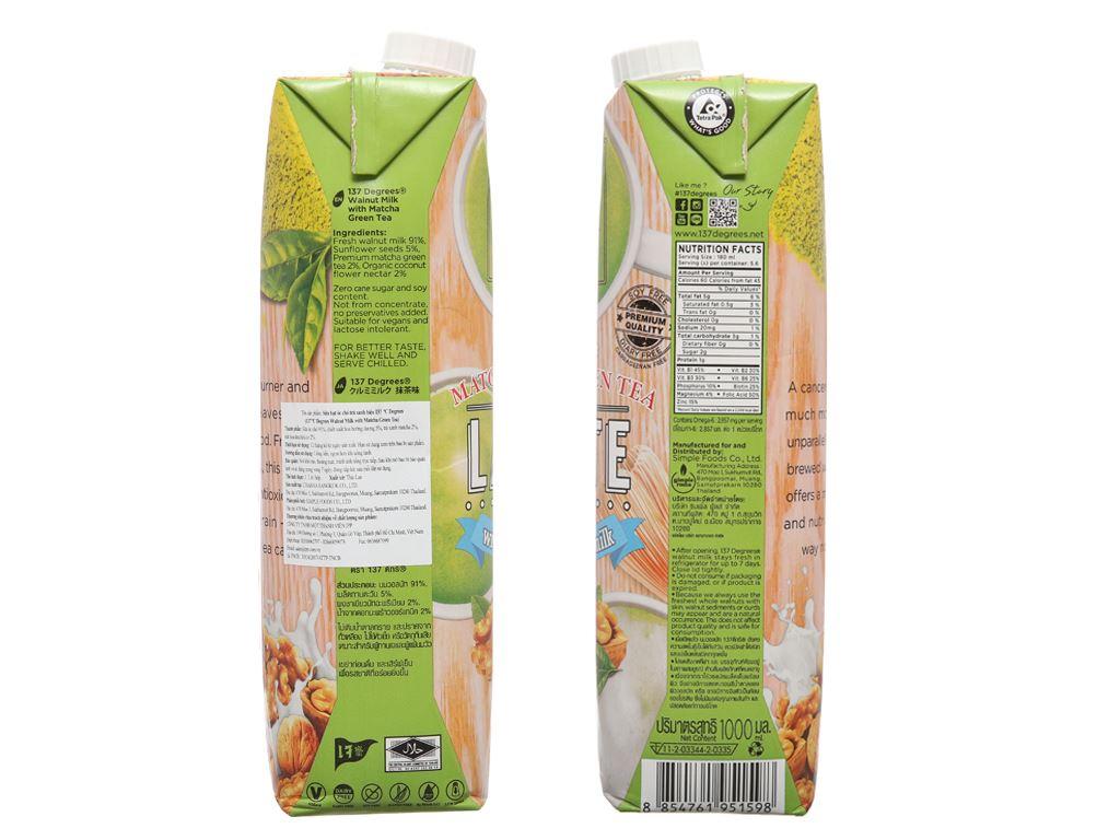 Sữa hạt óc chó trà xanh 137 Degrees 1 lít 5
