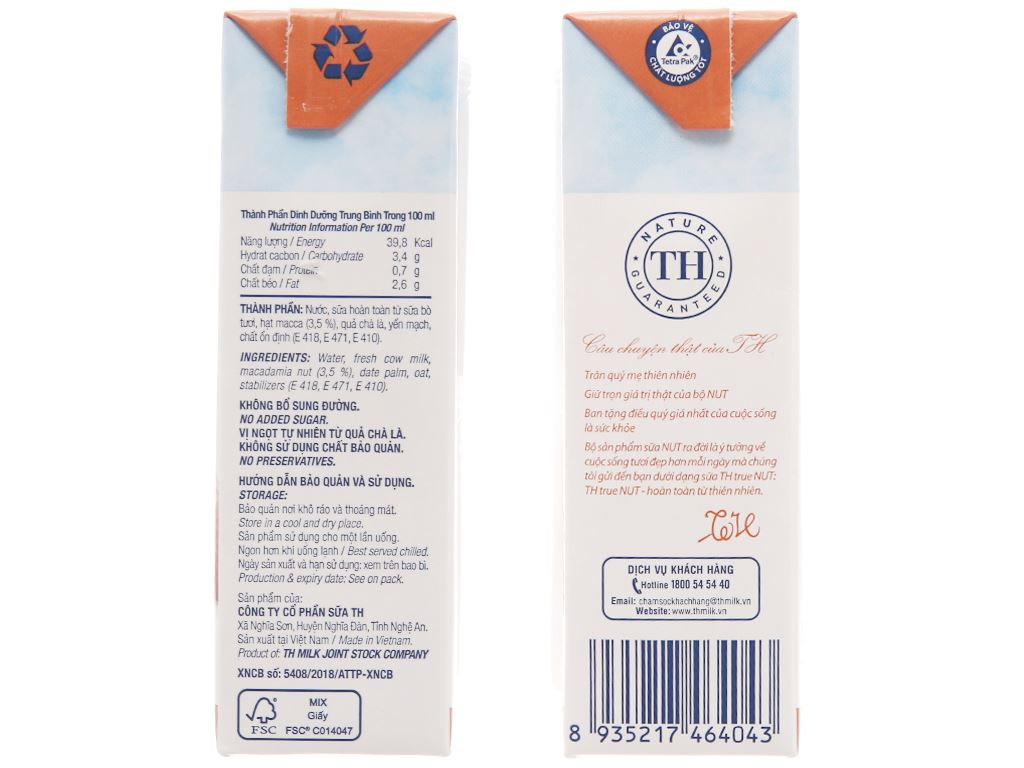Lốc 4 hộp Sữa hạt macca TH True Nut 180ml 4