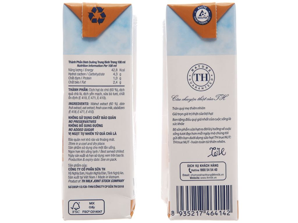 Lốc 4 hộp Sữa hạt óc chó TH True Nut 180ml 4