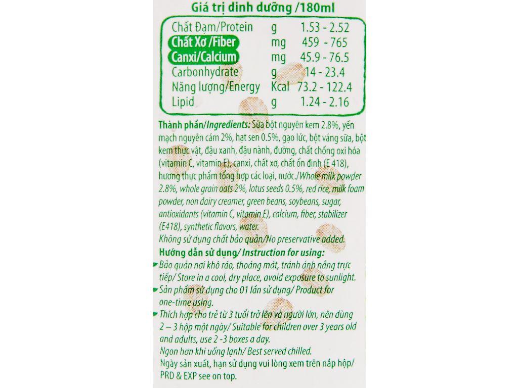 Lốc 4 hộp thức uống yến mạch hạt sen Việt Ngũ Cốc 180ml 10