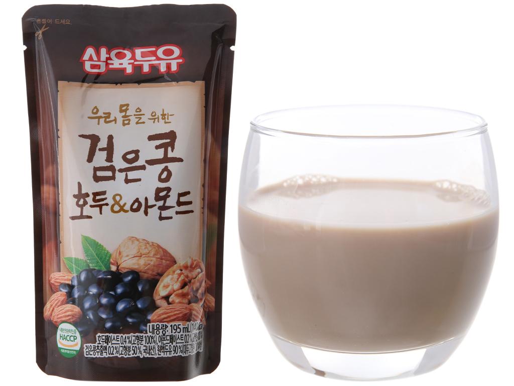 Sữa đậu đen óc chó hạnh nhân Sahmyook bịch 195 ml 2
