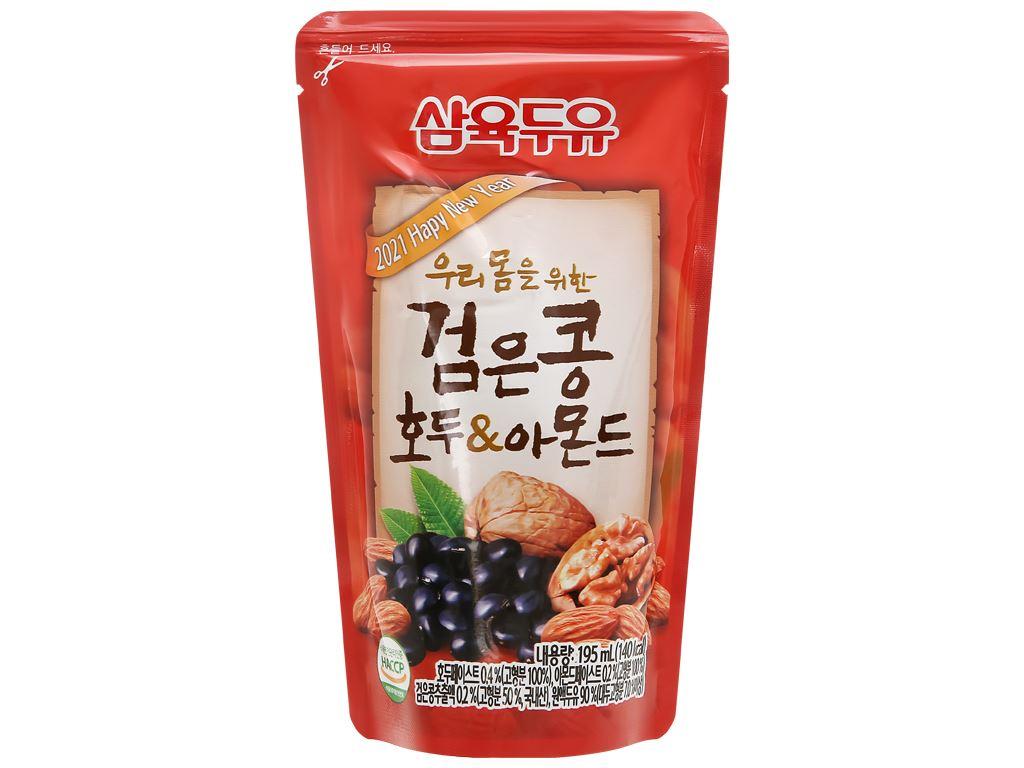 Sữa đậu đen óc chó hạnh nhân Sahmyook bịch 195 ml 9