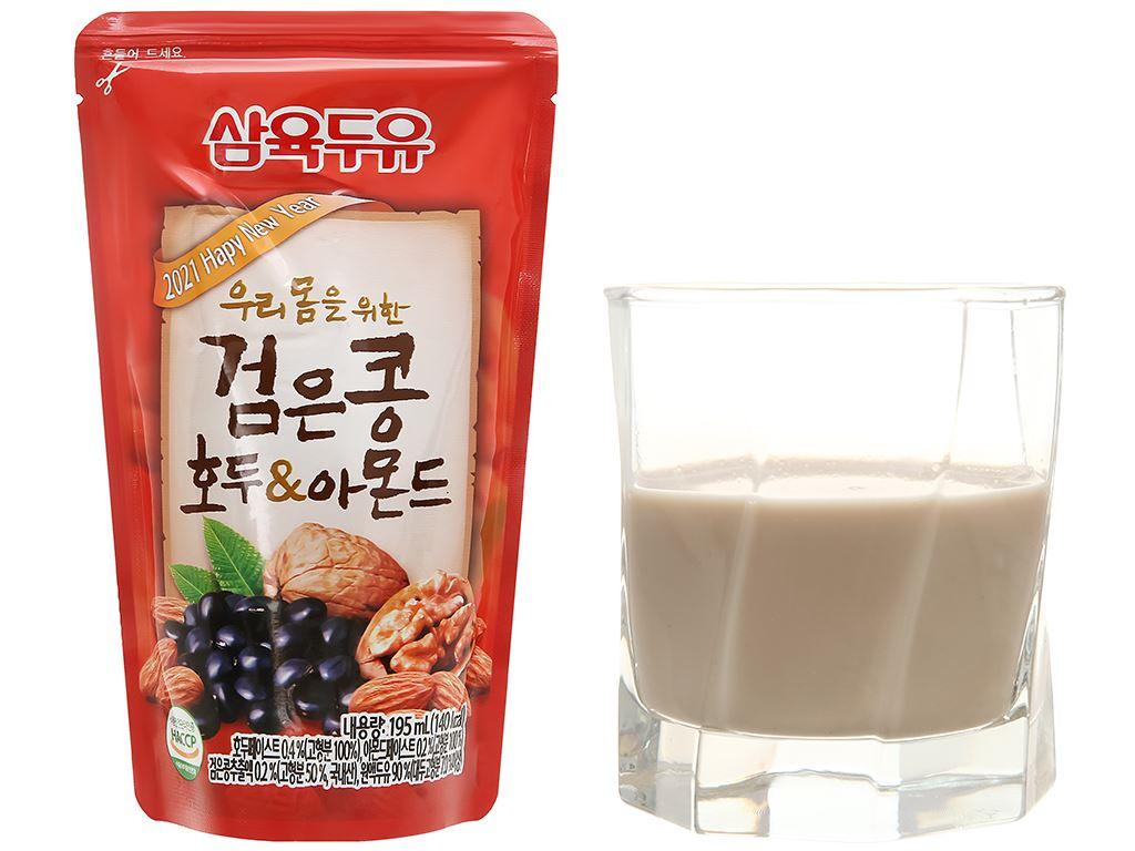 Sữa đậu đen óc chó hạnh nhân Sahmyook bịch 195 ml 13