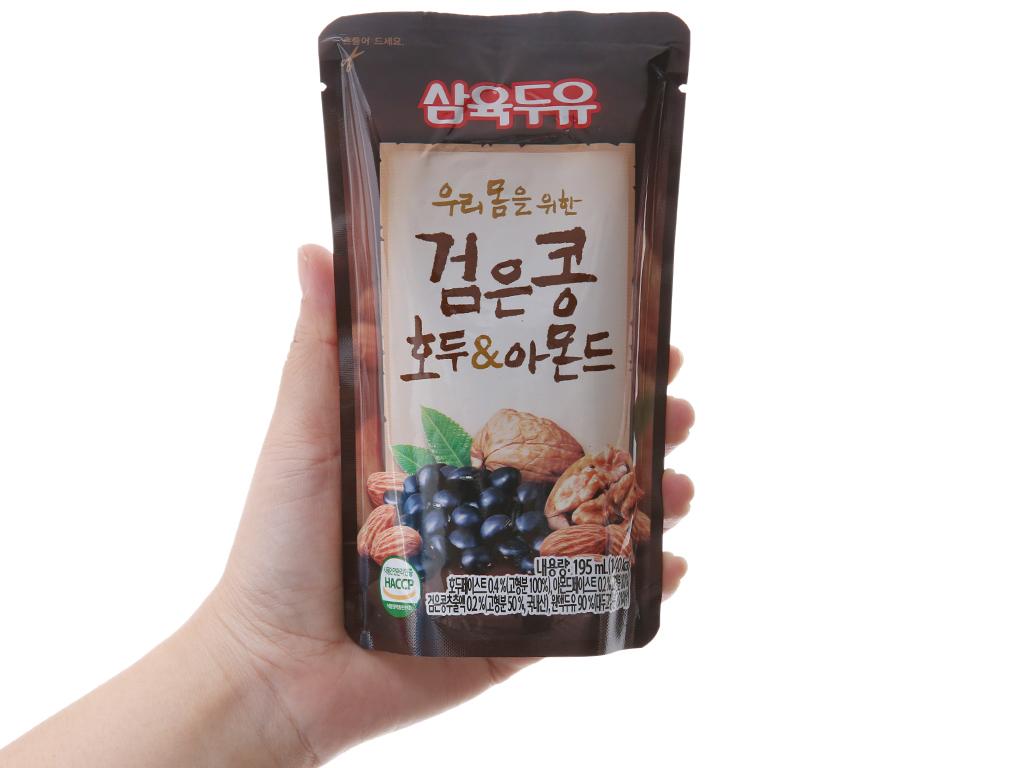 Sữa đậu đen óc chó hạnh nhân Sahmyook bịch 195 ml 4