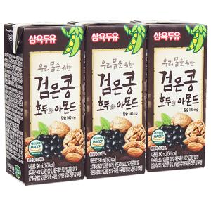Lốc 3 hộp sữa đậu đen óc chó hạnh nhân Sahmyook 190ml