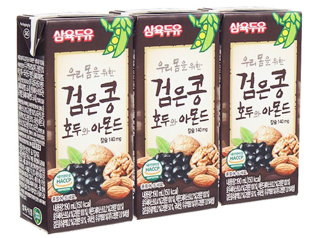 Lốc 3 hộp sữa đậu đen óc chó hạnh nhân Sahmyook 190ml 1