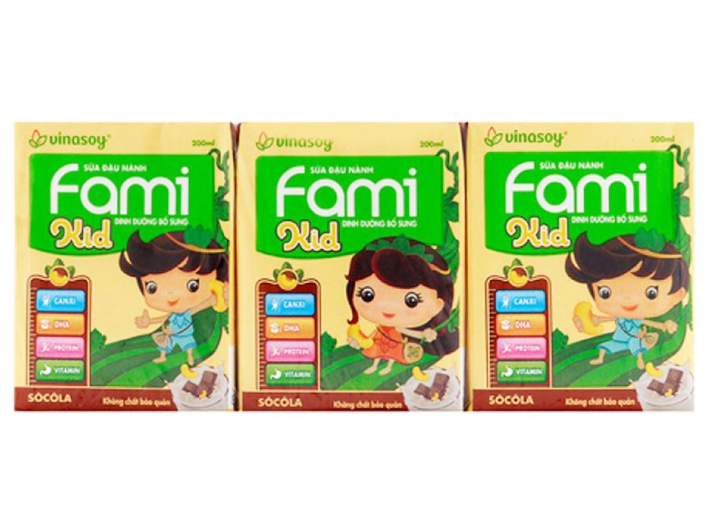 Lốc 6 hộp Sữa đậu nành sô cô la Fami Kid sô cô la 200ml 1
