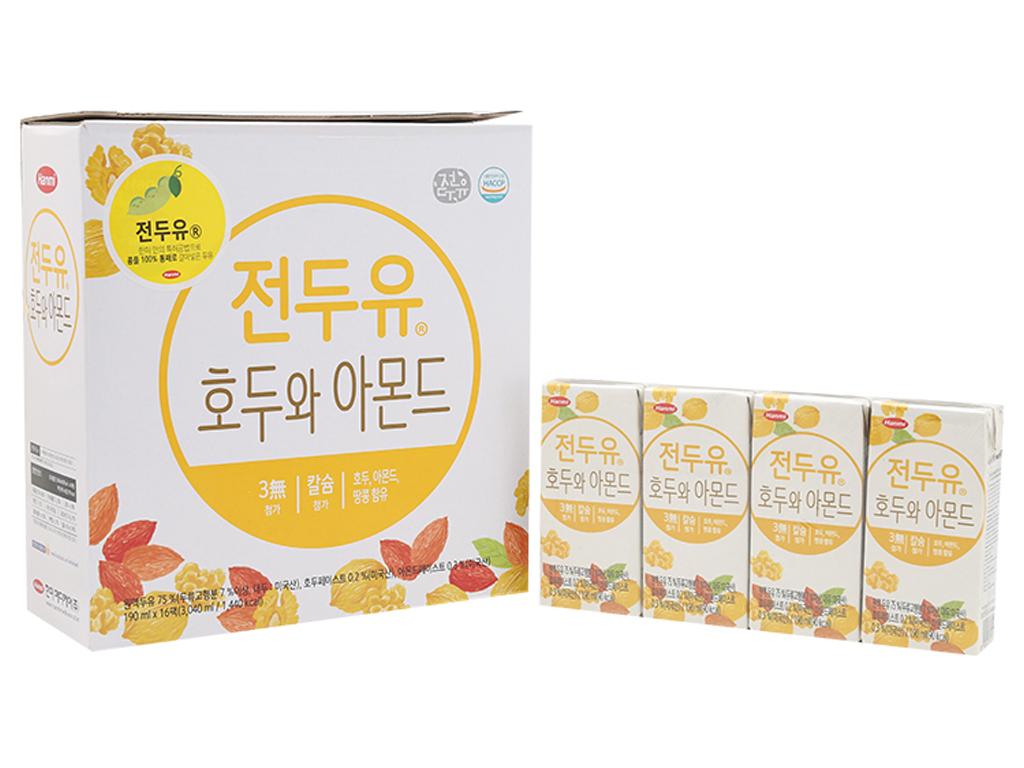 Thùng 16 hộp Sữa đậu nành Hanmi óc chó hạnh nhân 190ml 1