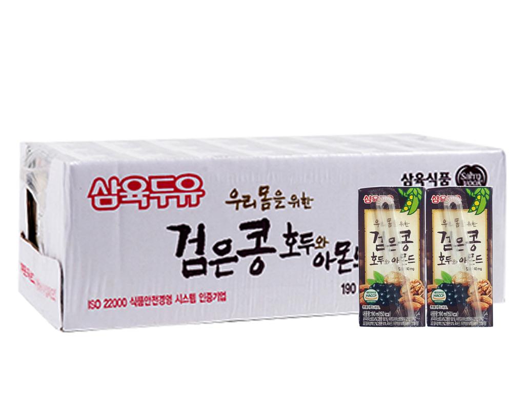 Thùng 24 hộp Sữa đậu đen Sahmyook óc chó hạnh nhân 190ml 1