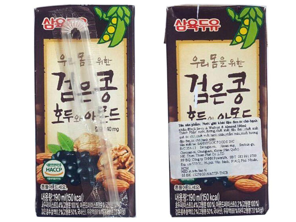 Thùng 24 hộp sữa đậu đen óc chó hạnh nhân Sahmyook 190ml 3