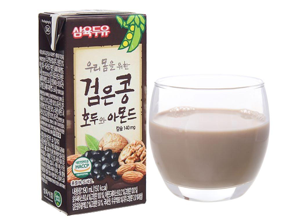 Thùng 24 hộp sữa đậu đen óc chó hạnh nhân Sahmyook 190ml 2