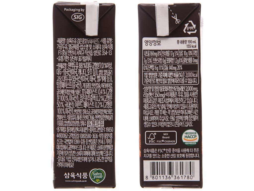 Sữa đậu đen Sahmyook óc chó hạnh nhân 190ml 3