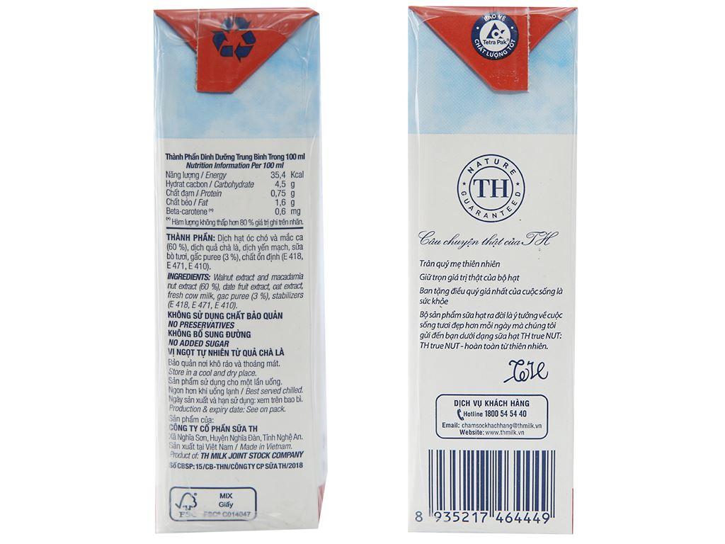 Lốc 4 hộp Sữa hạt và gấc TH True Nut 180ml 3