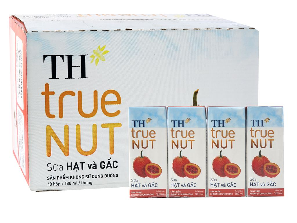 Thùng 48 hộp Sữa hạt và gấc TH True Nut 180ml 1