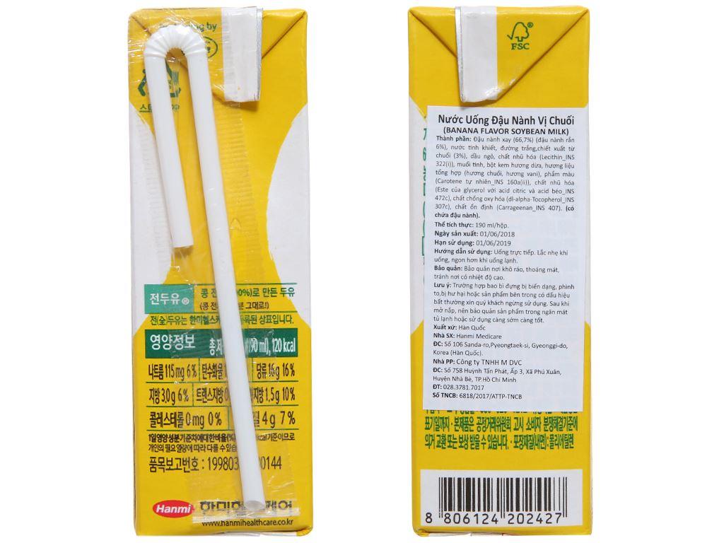 Sữa đậu nành Hanmi vị chuối hộp 190ml 3
