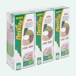 Lốc 3 hộp sữa 5 loại đậu có đường Nesvita 180ml