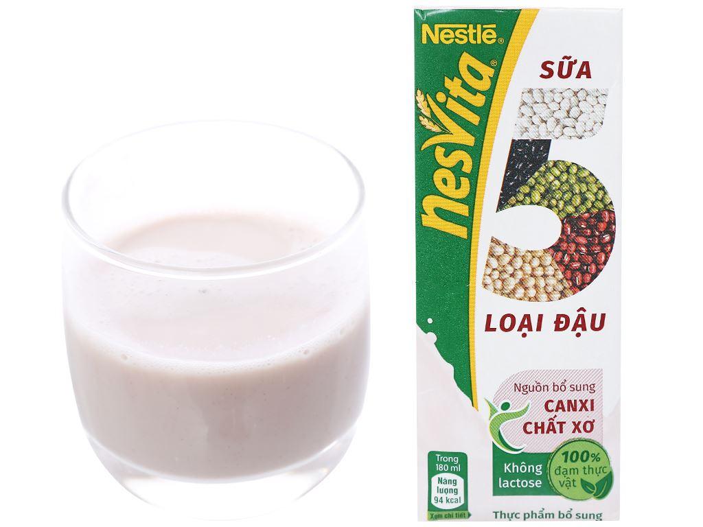 Lốc 3 hộp sữa 5 loại đậu có đường Nesvita 180ml 5