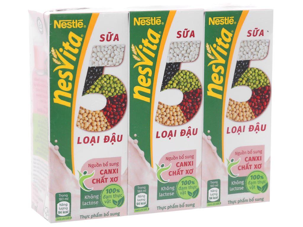 Lốc 3 hộp sữa 5 loại đậu có đường Nesvita 180ml 1