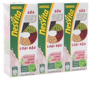Lốc 3 hộp Sữa 5 loại đậu Nesvita có đường 180ml