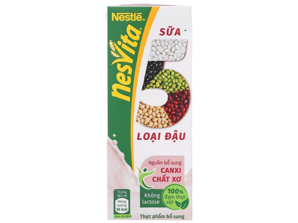 Thùng 30 hộp sữa 5 loại đậu có đường Nesvita 180ml 3