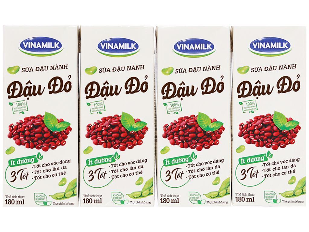 Lốc 4 hộp Sữa đậu nành đậu đỏ Vinamilk 180ml 1