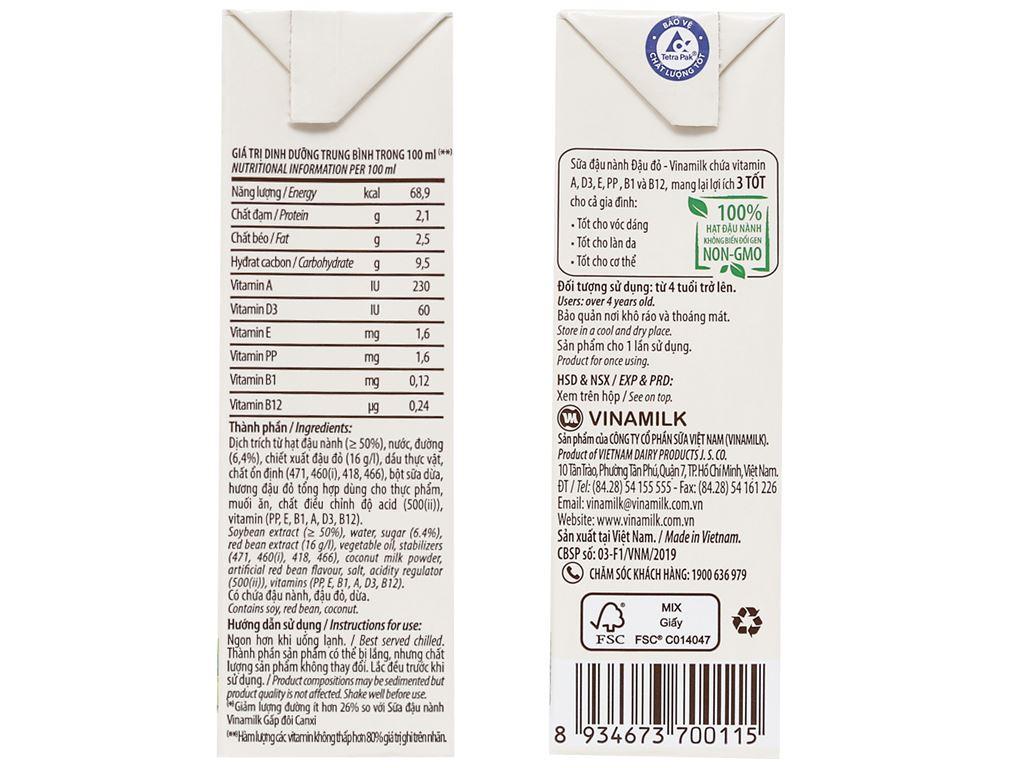 Lốc 4 hộp Sữa đậu nành đậu đỏ Vinamilk 180ml 4