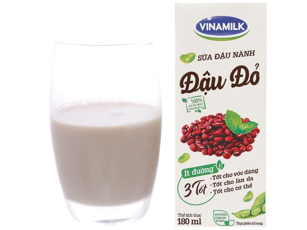 Lốc 4 hộp Sữa đậu nành đậu đỏ Vinamilk 180ml 5