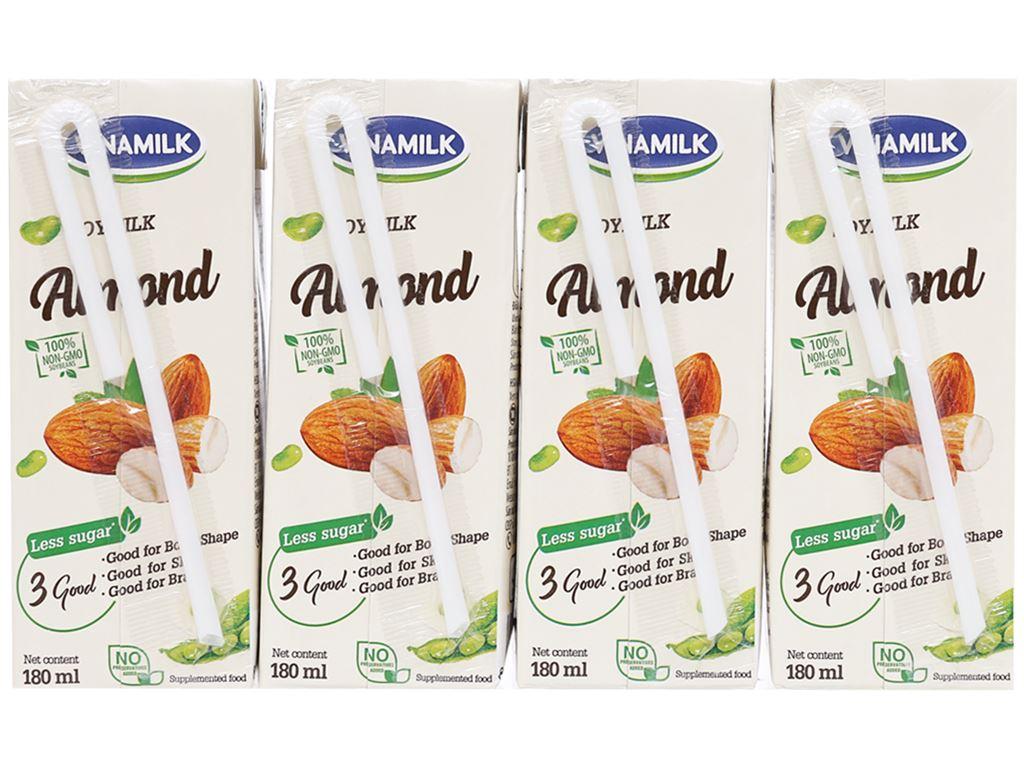 Lốc 4 hộp sữa đậu nành hạnh nhân Vinamilk 180ml 2