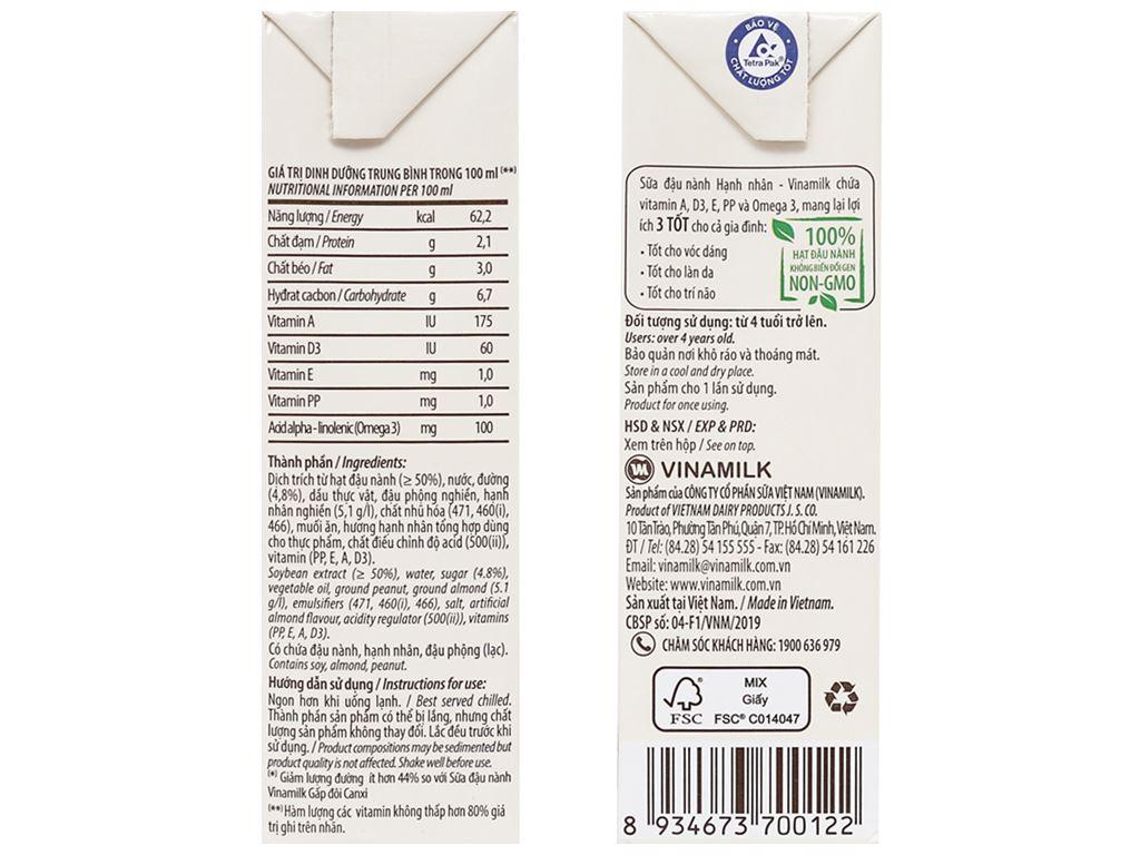Lốc 4 hộp sữa đậu nành hạnh nhân Vinamilk 180ml 4