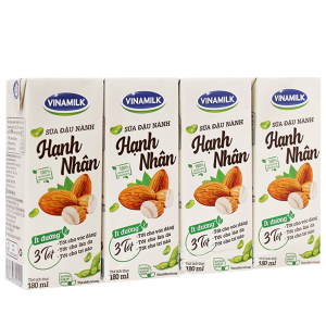 Lốc 4 hộp sữa đậu nành hạnh nhân Vinamilk 180ml