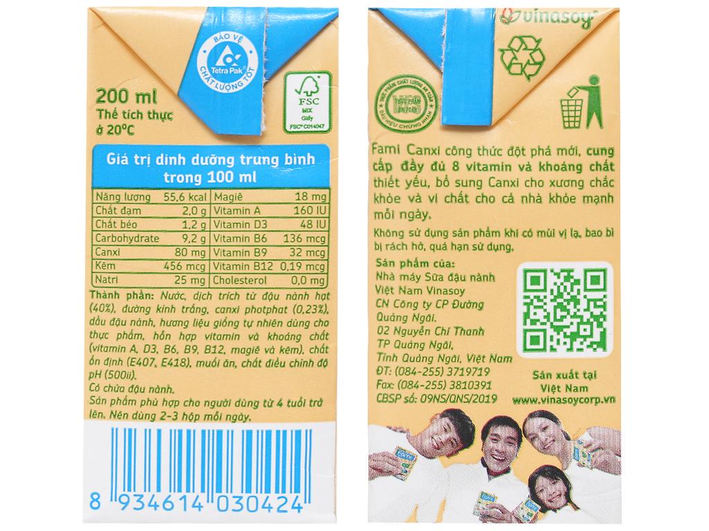 Lốc 6 hộp sữa đậu nành ít đường Fami Canxi 200ml 3