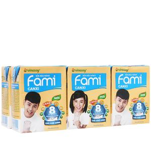 Lốc 6 hộp sữa đậu nành ít đường Fami Canxi 200ml