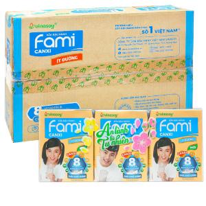 Thùng 36 hộp sữa đậu nành ít đường Fami Canxi 200ml