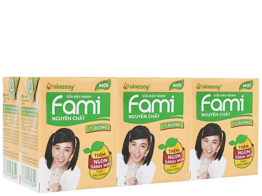 Lốc 6 hộp sữa đậu nành nguyên chất ít đường Fami 200ml 1