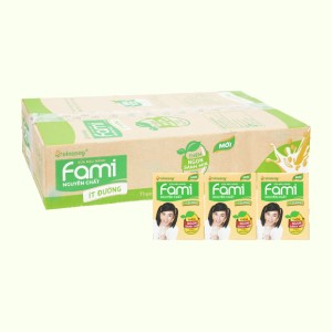 Thùng 36 hộp sữa đậu nành nguyên chất ít đường Fami 200ml