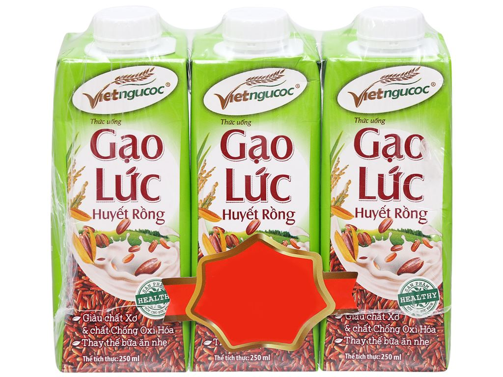 Lốc 3 hộp Thức uống gạo lức huyết rồng Việt Ngũ Cốc 250ml 5