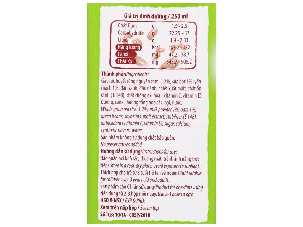 Lốc 3 hộp Thức uống gạo lức huyết rồng Việt Ngũ Cốc 250ml 9