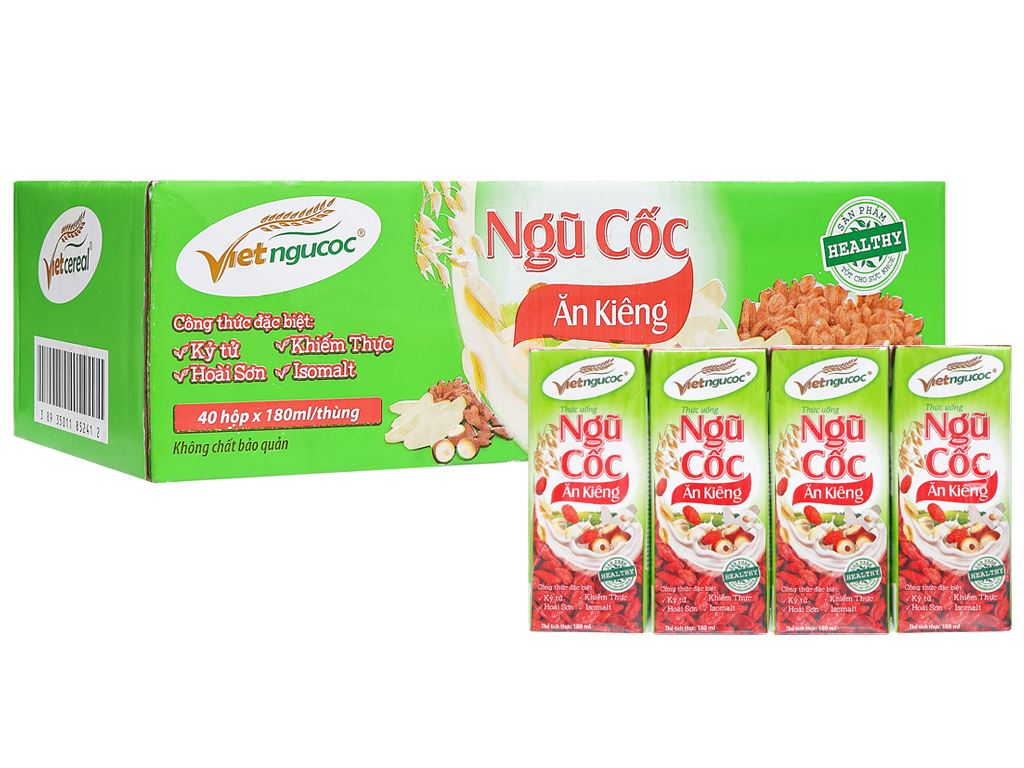 Thùng 40 hộp thức uống ngũ cốc ăn kiêng Việt Ngũ Cốc 180ml 4