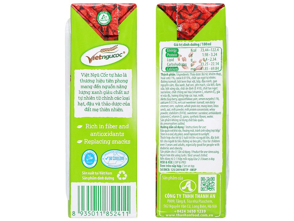Thùng 40 hộp thức uống ngũ cốc ăn kiêng Việt Ngũ Cốc 180ml 8
