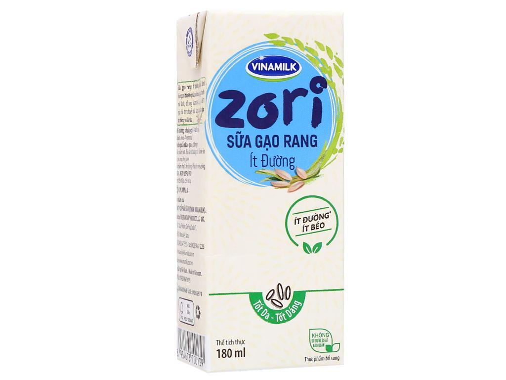 Thùng 48 hộp sữa gạo rang ít đường Vinamilk Zori 180ml 8