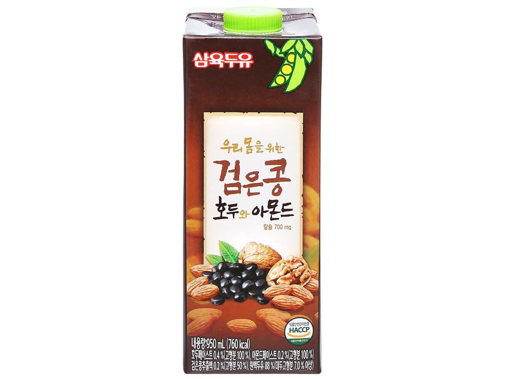 Thùng 12 hộp sữa đậu đen óc chó hạnh nhân Sahmyook 950ml 4