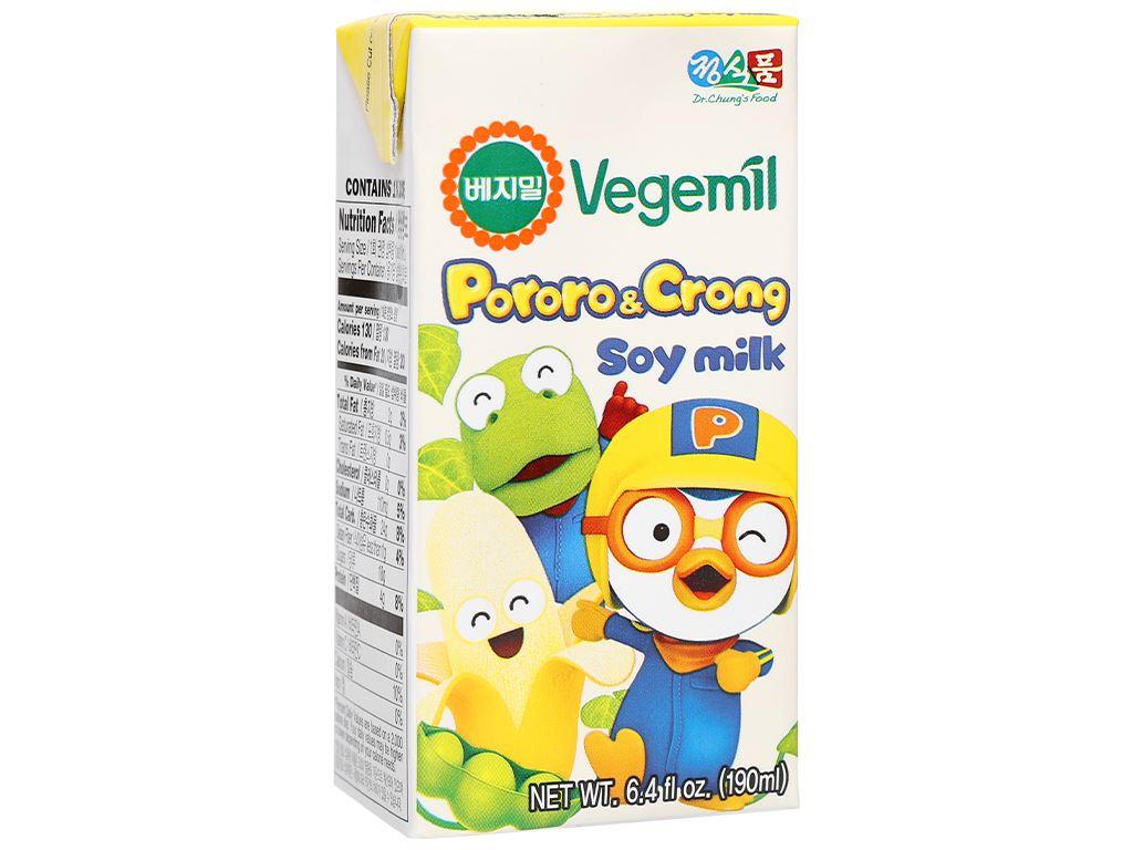 Sữa đậu nành hương chuối Vegemil Pororo & Crong hộp 190ml 1