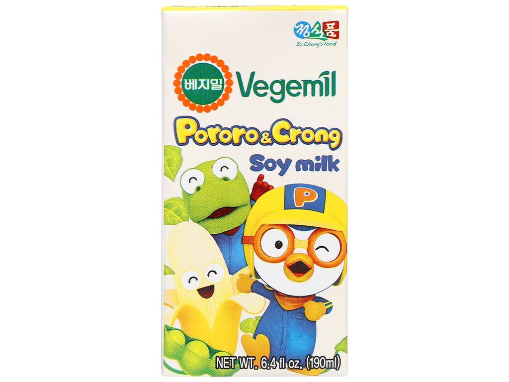 Sữa đậu nành hương chuối Vegemil Pororo & Crong hộp 190ml 2
