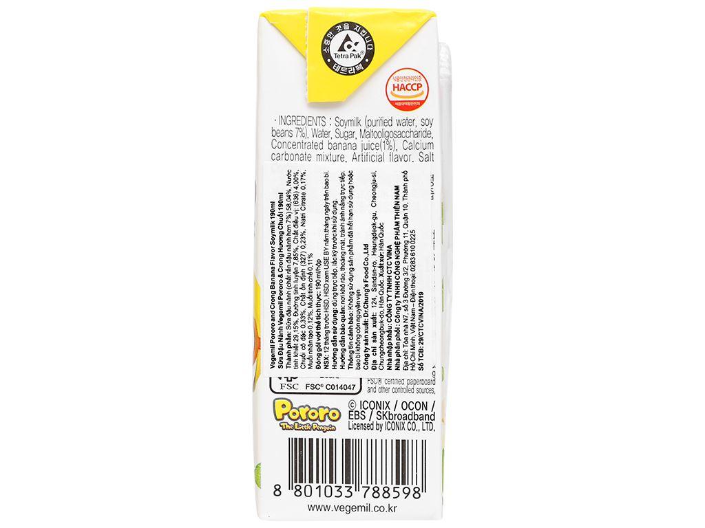 Sữa đậu nành hương chuối Vegemil Pororo & Crong hộp 190ml 4