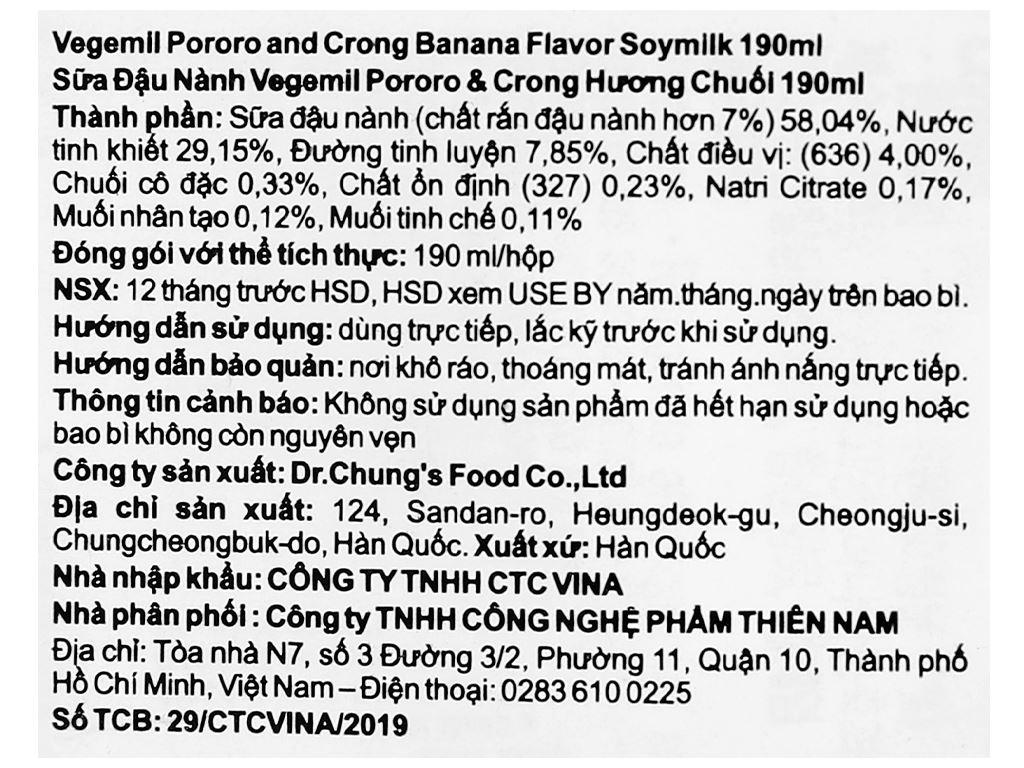 Sữa đậu nành hương chuối Vegemil Pororo & Crong hộp 190ml 6