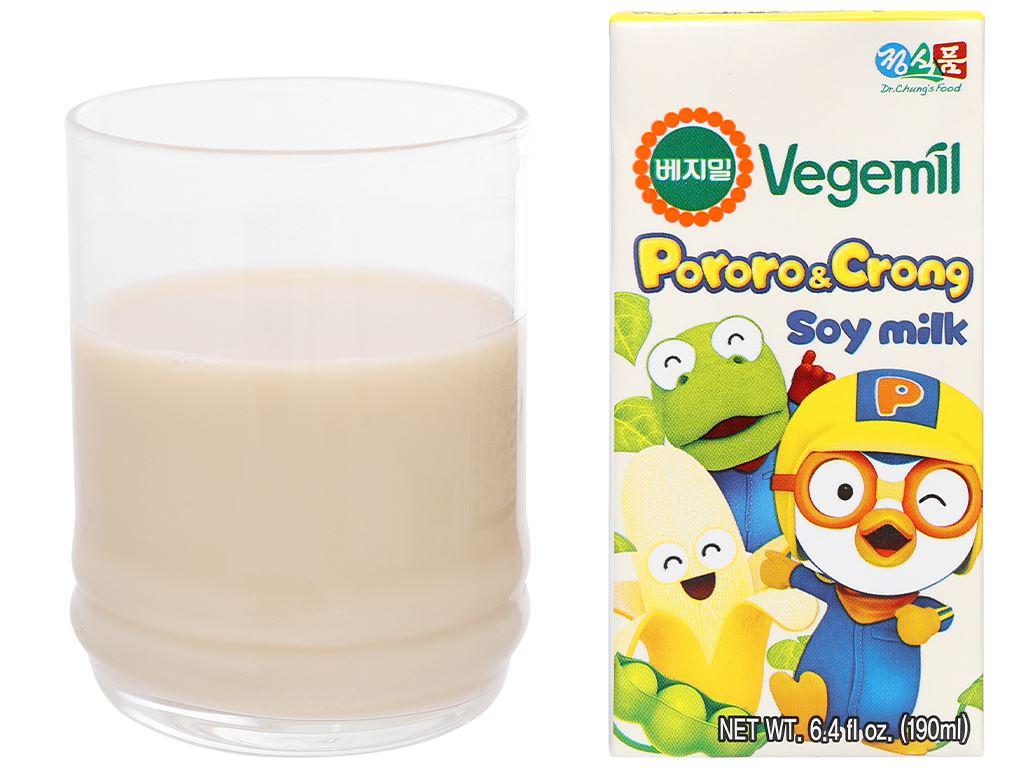 Sữa đậu nành hương chuối Vegemil Pororo & Crong hộp 190ml 8